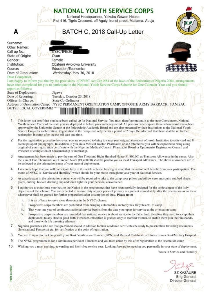 Nysc call-up letter sample