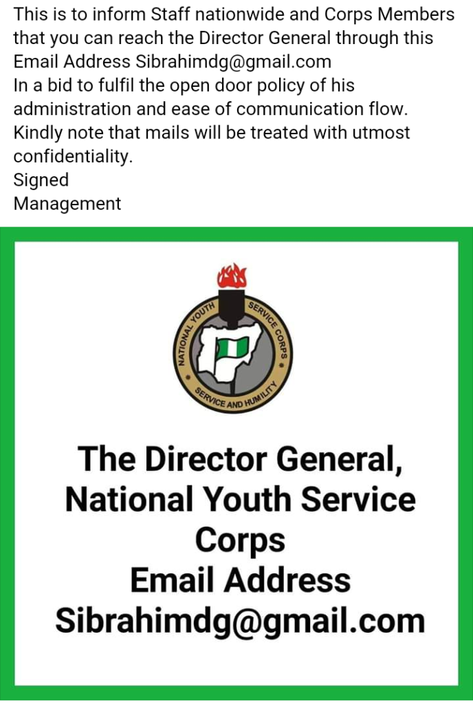How To Communicate Directly with NYSC DG