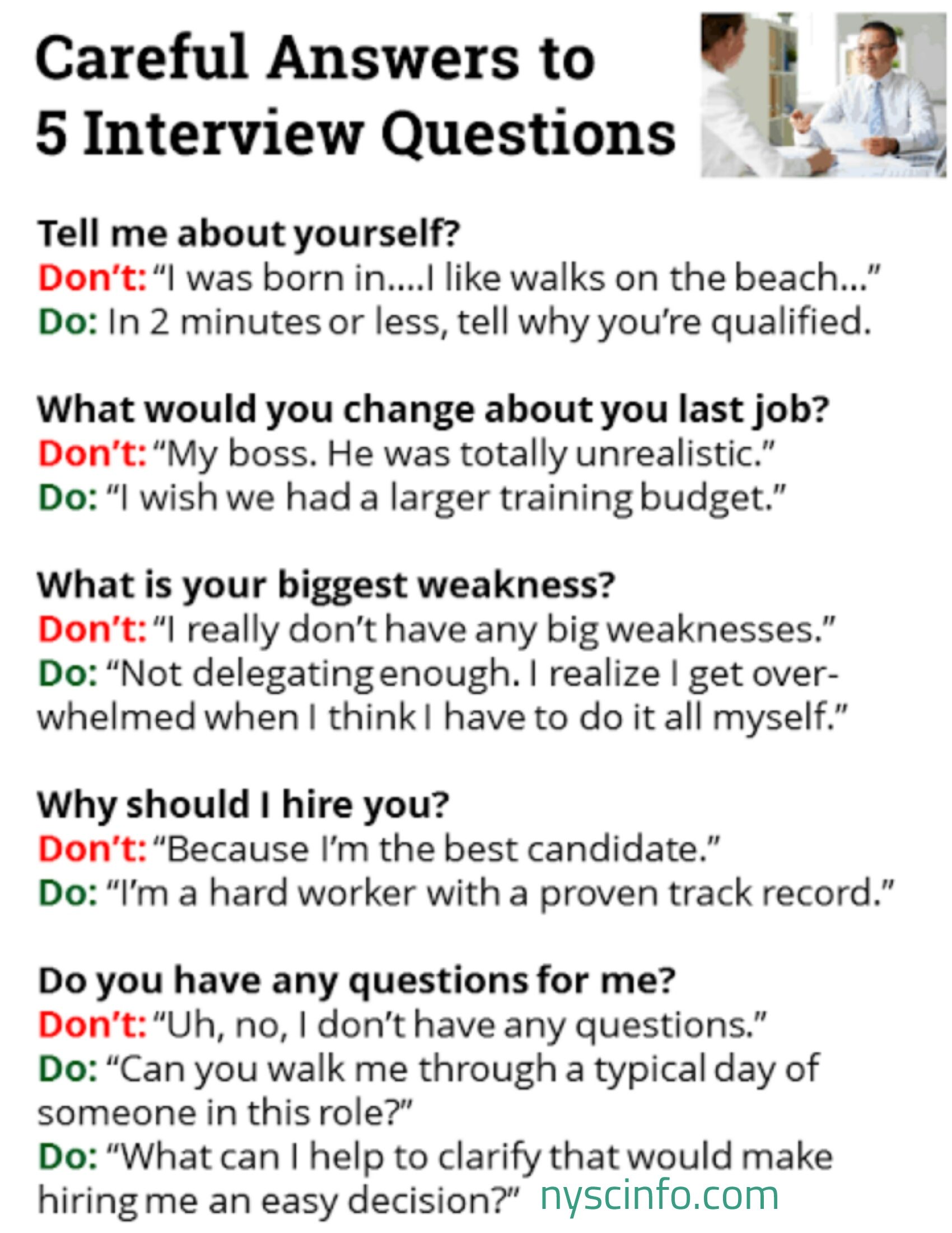 10 Tough Job Interview Questions and Answers - Nyscinfo