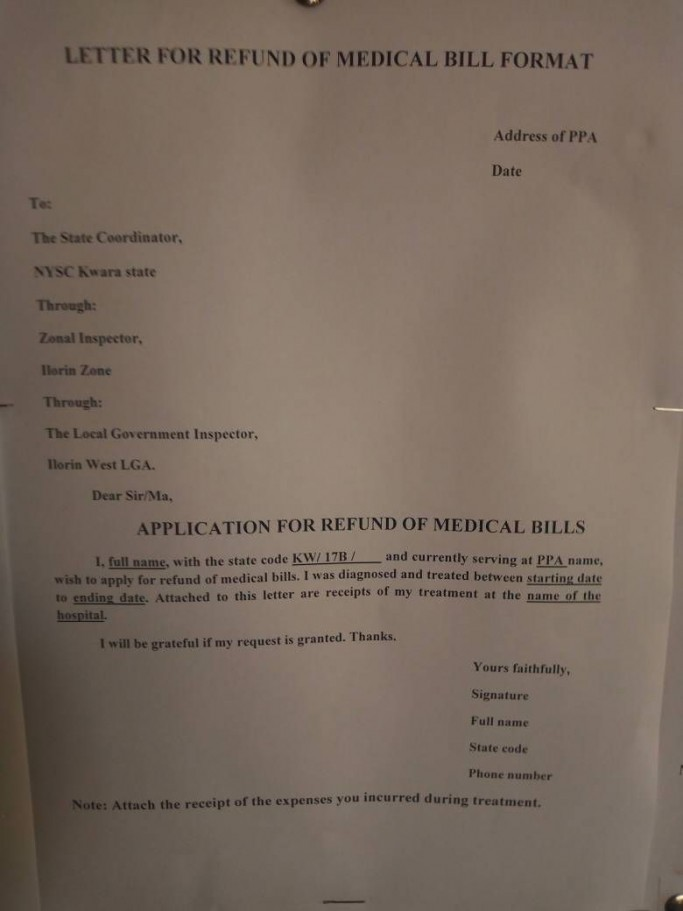 NYSC Medical Refund Letter