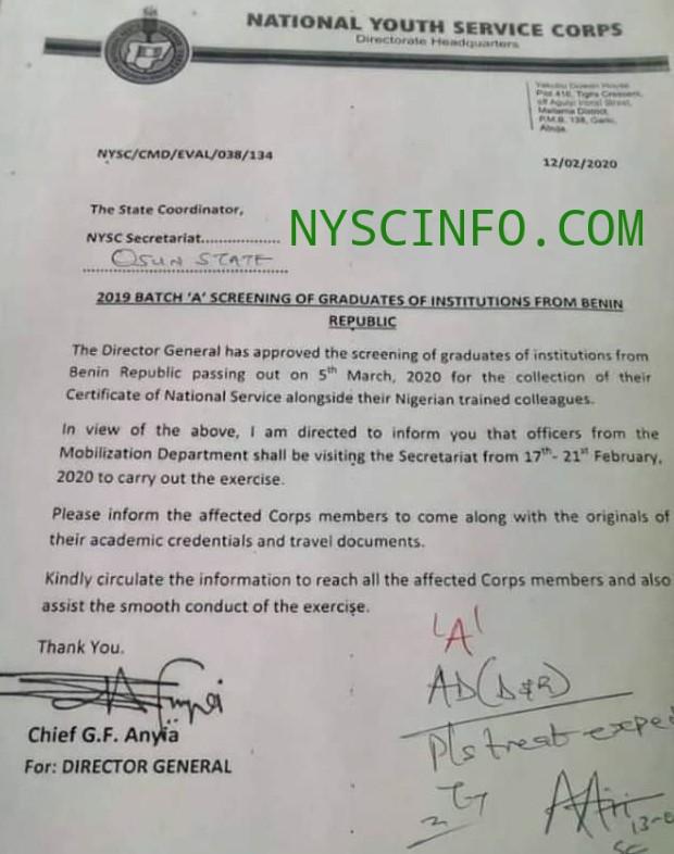 2019 Batch A Benin Republic Graduates to be screened by NYSC