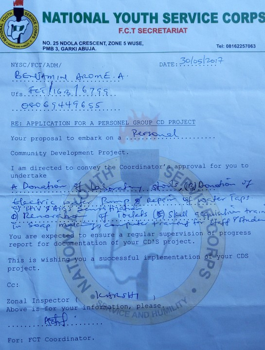 How to write NYSC project proposal for personal CDS